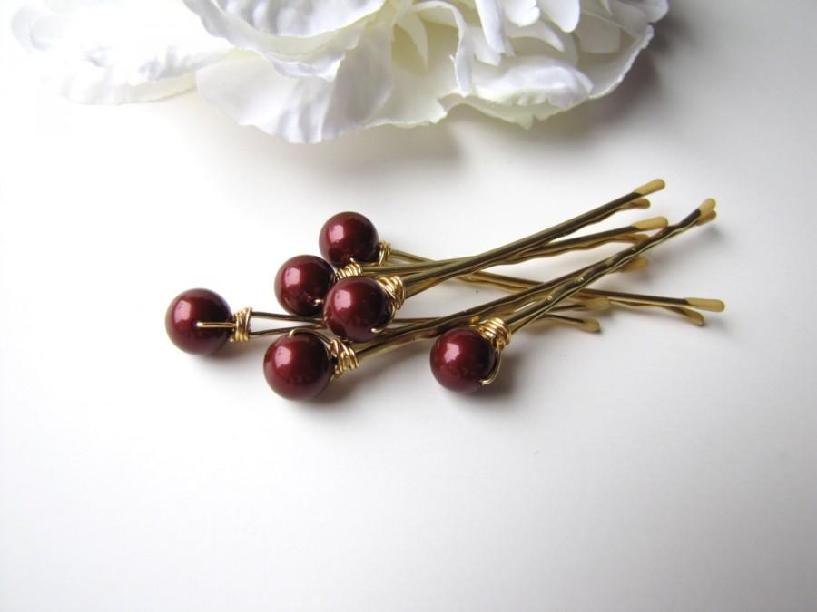 Свадьба - Marsala Red Garnet Pearl Hair Pins, Bordeaux 8mm