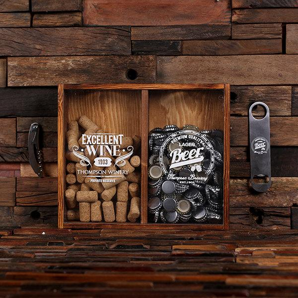 Beer cap holder personalized shadow box free bottle opener for Wine cork crafts for weddings