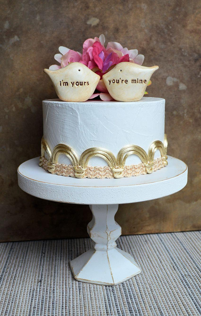Mariage - Wedding cake topper...Love birds... i'm yours, you're mine ... perfect for a rustic wedding