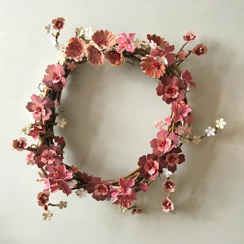 Flower Wreath Paper Flower Wreath Easter Wreath Spring Paper