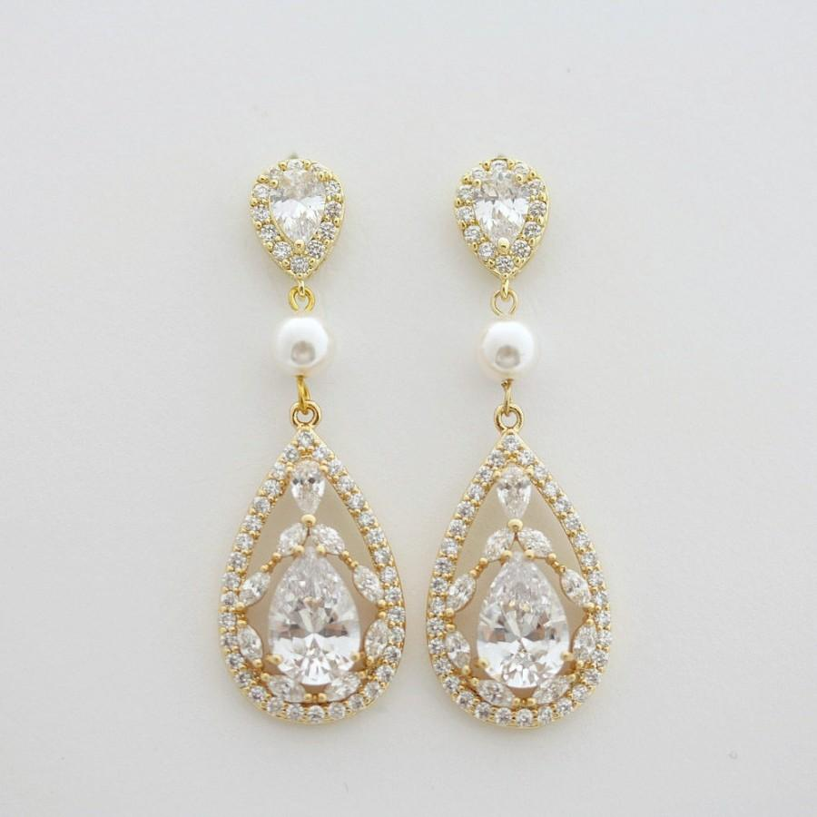 Gold Wedding Earrings Bridal Jewelry Cubic Zirconia Pearl Tear Drops Yellow Crystal Esther Earring