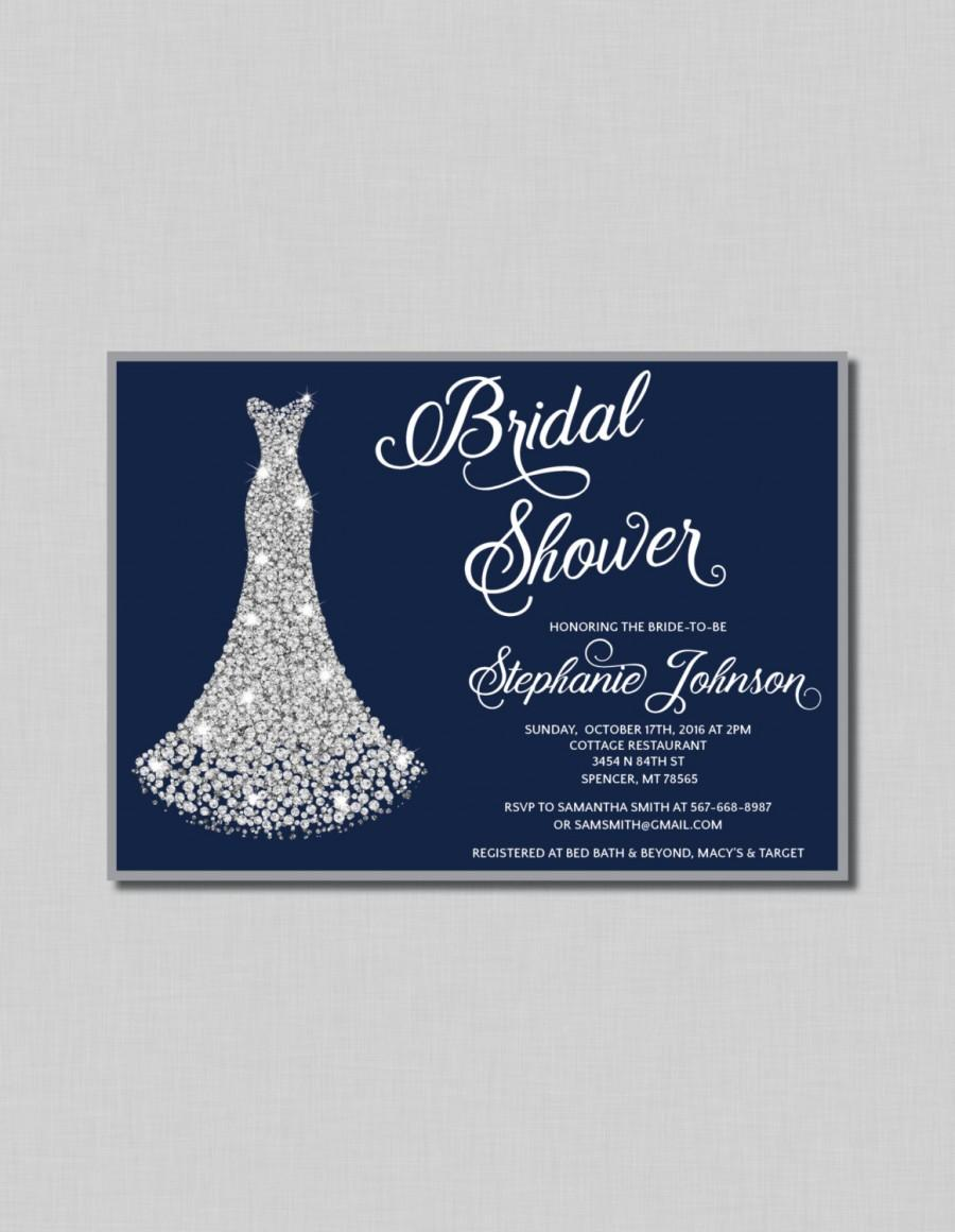 Navy and silver bridal shower invitation diamond wedding gown navy and silver bridal shower invitation diamond wedding gown digital or printed filmwisefo