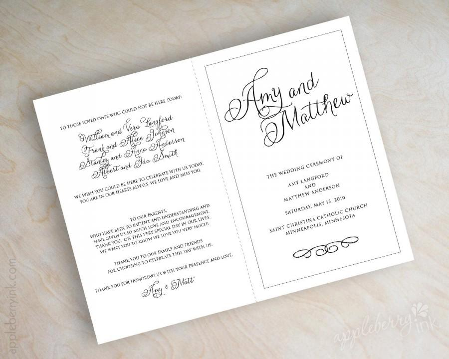 زفاف - Simple, plain, black and white, script name, bi-fold wedding programs, ceremony programs, mass booklet, script font wedding program, Jane