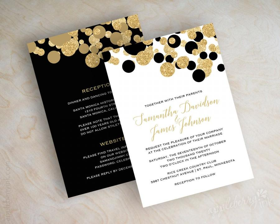 Black And Gold Polka Dot Wedding Invitations, Black And Gold Wedding ...