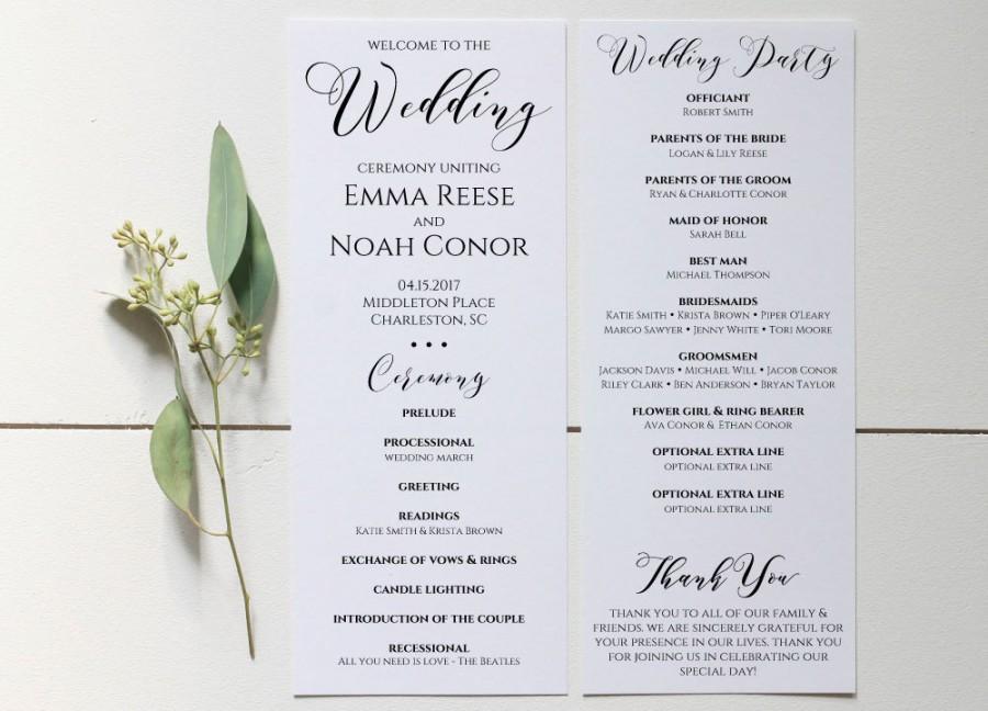Wedding Program Printable Template Editable Rustic Ceremony Instant Wc3