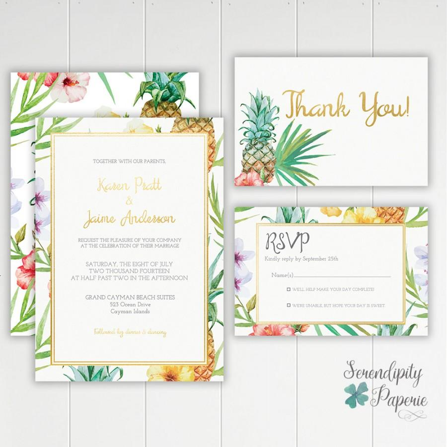 image regarding Wedding Stationery Printable known as Pineapple Tropical Wedding day Invitation Printable Stationery