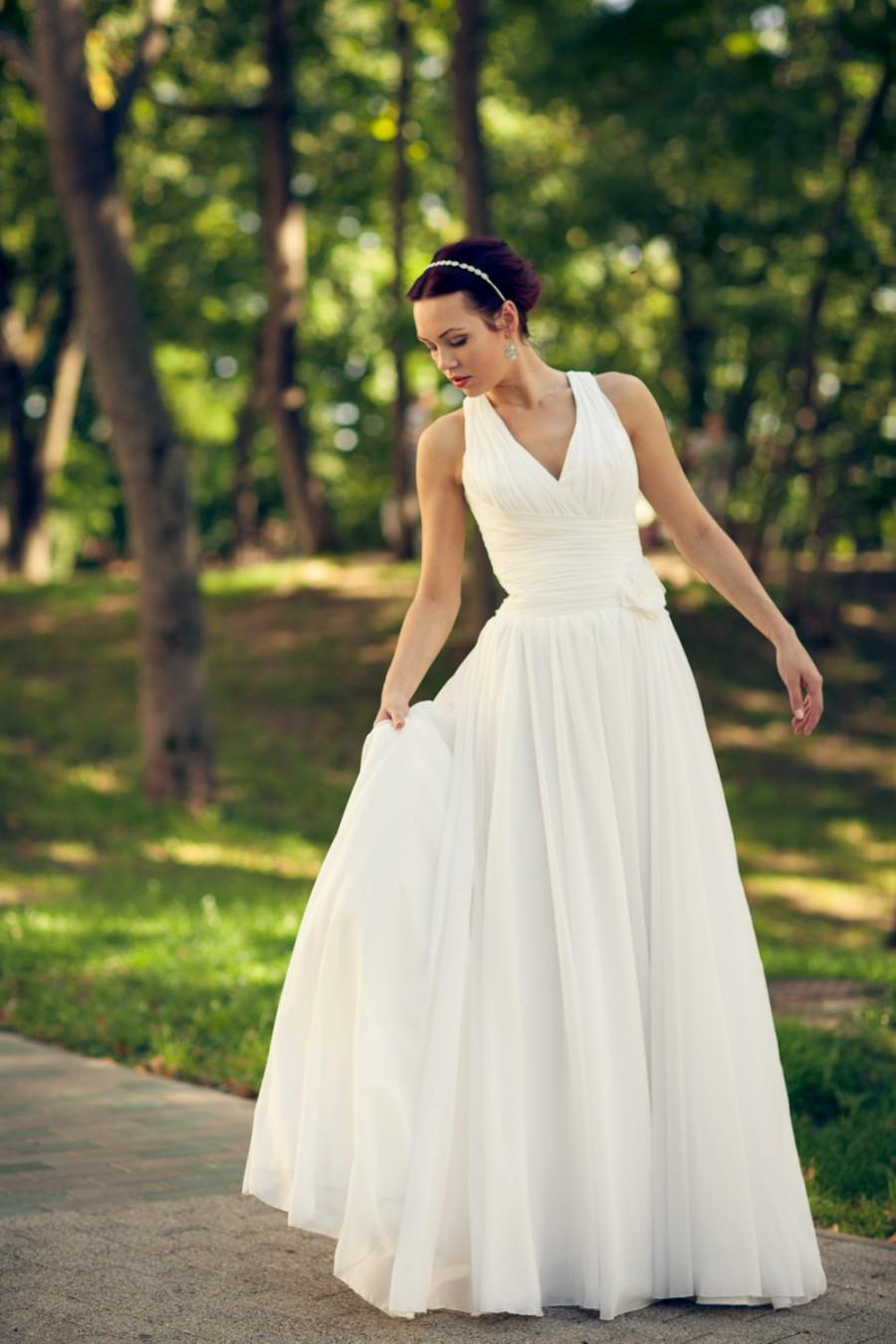 Wedding - Boho Vintage Inspired A-Line Chiffon Wedding Dress with Deep V Cutout, Draped Corset, Light-As-Air Chiffon Skirt