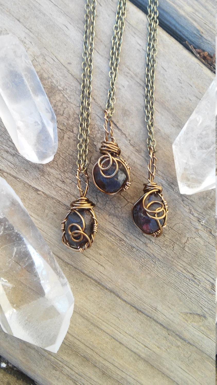 Wedding - Raw garnet necklace, January  birthstone necklace, birthstone necklace, garnet stone, wire wrapped, crystal