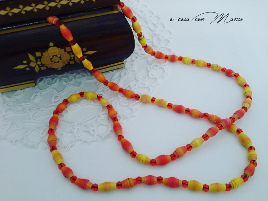 Mariage - Collana lunga - long necklace with orange and yellow pearl paper - Fatta a mano - made in Italy - pearl paper - orange and yellow