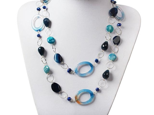 Boda - Jewelry  Jewel Handmade Jewelry Handmade Necklace Stone Necklace Agate Necklace Blue Long Necklace Long Necklace Layered Necklace Blue Agate