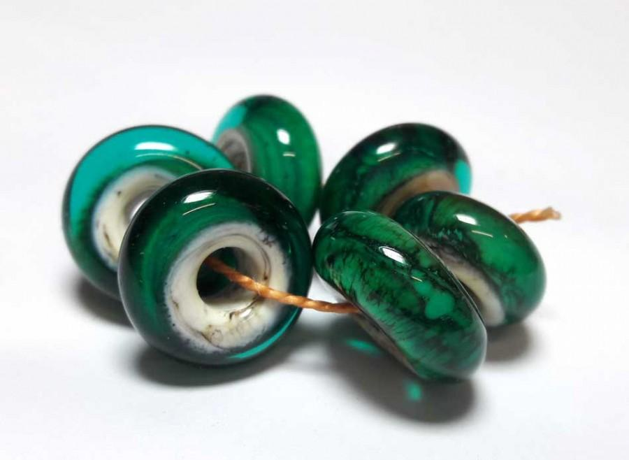 Wedding - Lampwork Glass bead handmade Beads aqua, ivory.