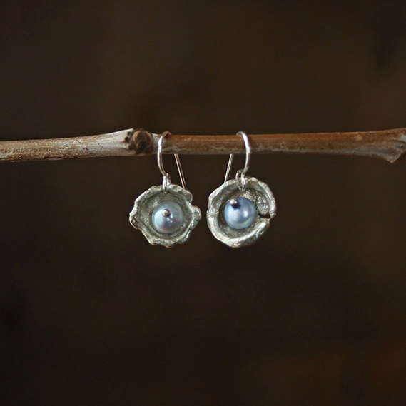 Wedding - aqua pearl oyster earrings