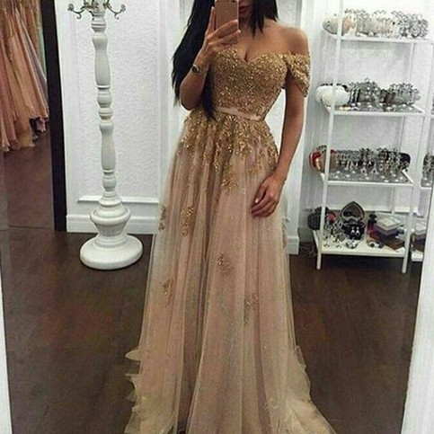 Wedding - Modern Pearl Pink Prom Dress - Off Shoulder Short Sleeves Beaded Appliques with Sash from Dressywomen