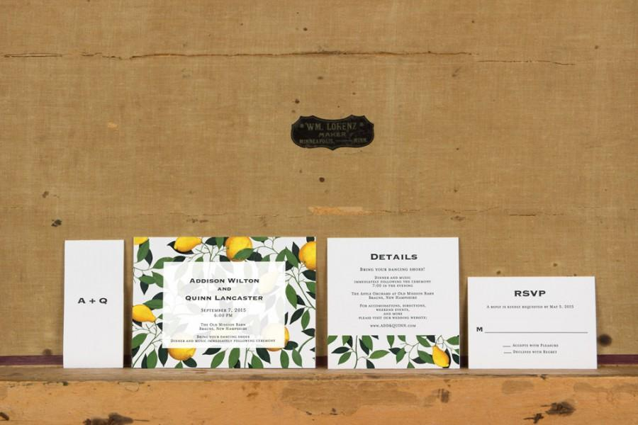modern lemon tree botanical wedding invitations rustic lemon tree
