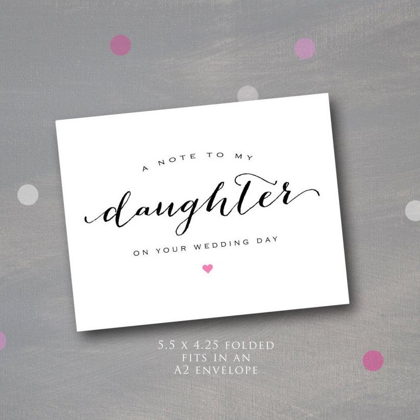 Wedding - A Note to My Daughter on Her Wedding Day, A note for the Bride, Bridal note, instant download, printable note card, uses an A2 envelope,