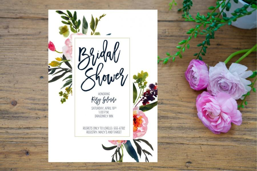 Mariage - Printable Bridal Shower Invitation, Floral Watercolor Bridal Shower Invitation, Bridal Shower instant download, Navy shower invitation