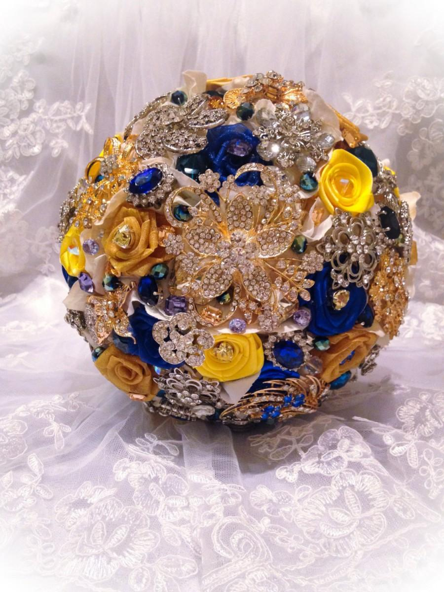 Blue Yellow Bridal Brooch Bouquet Deposit On Custom Royal Mustard Gold White Wedding Bling Diamond Broach