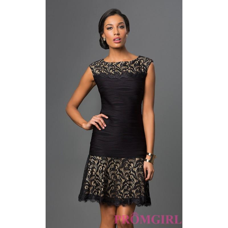 Short Lace Embellished Holiday Dress By