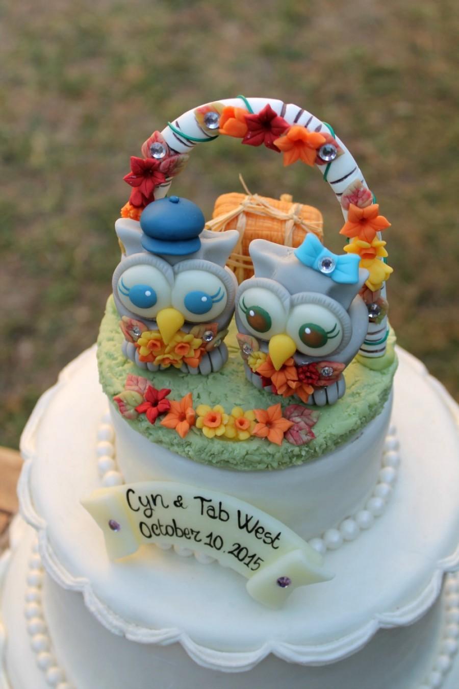 Свадьба - Mrs and Mrs wedding cake topper - same sex cake topper - lesbian cake topper - owl love birds bride and bride - rustic fall wedding