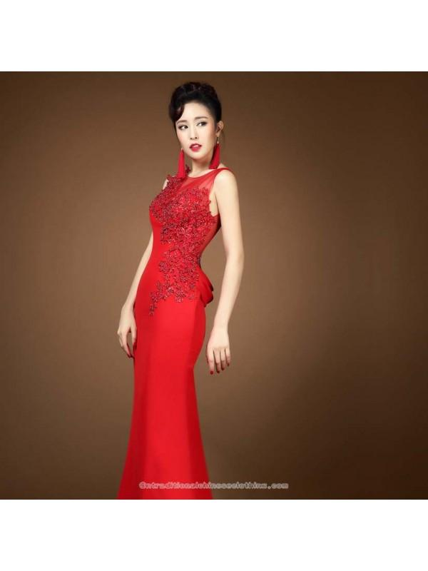 Wedding - Asymmetry floral lace evening dress floor length red bridal wedding gown - Cntraditionalchineseclothing.com