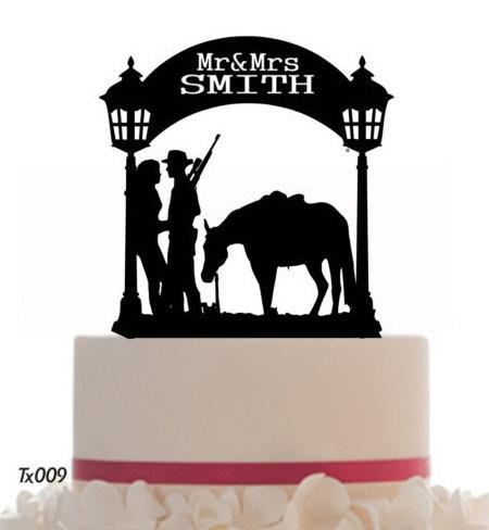 Hochzeit - Wedding Cake Topper Mr and Mrs With a Horse, Removable Spikes and Free Base for table Display