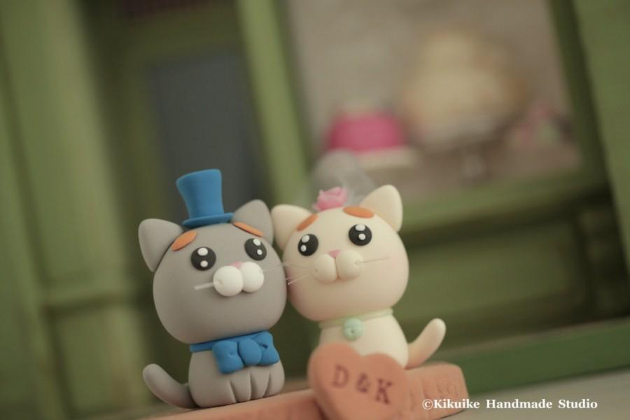 Mariage - cat and kitty Wedding Cake Topper-love kitty,love cat with stump---k855