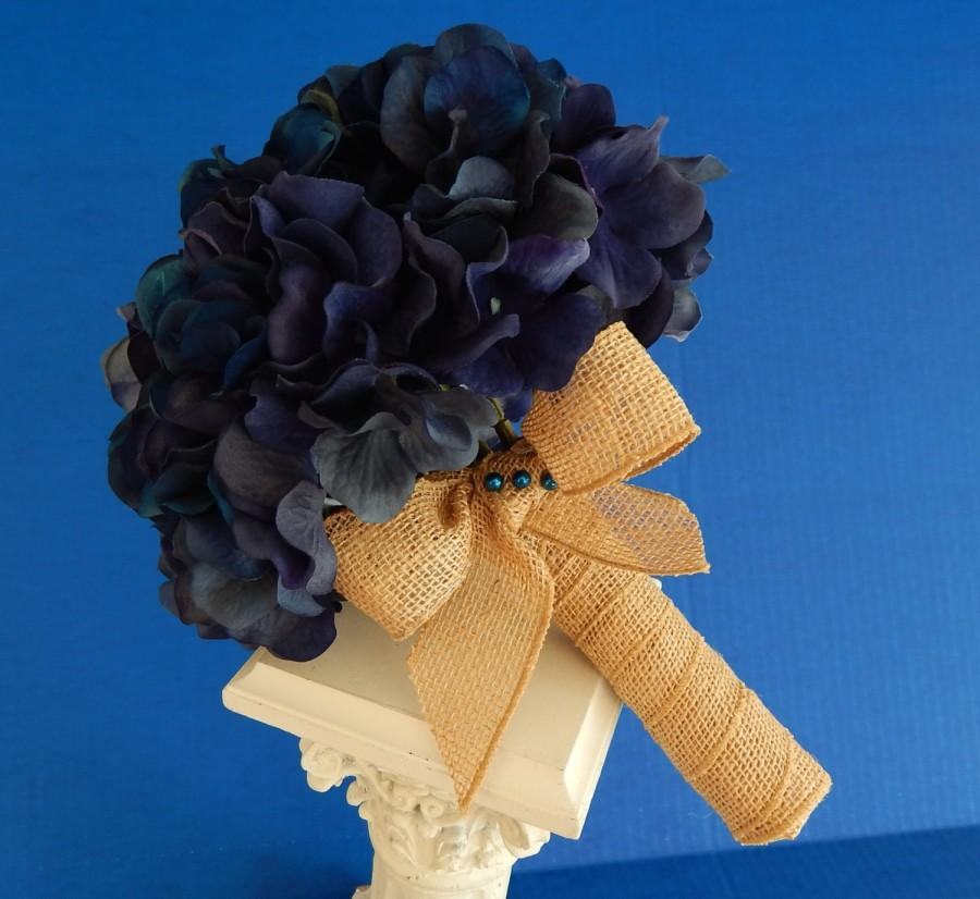 Hochzeit - Hydrangea Wedding Bouquet- Blue Bridal Bouquet - Boutonniere- Customized To Your Wedding Colors- SOLD