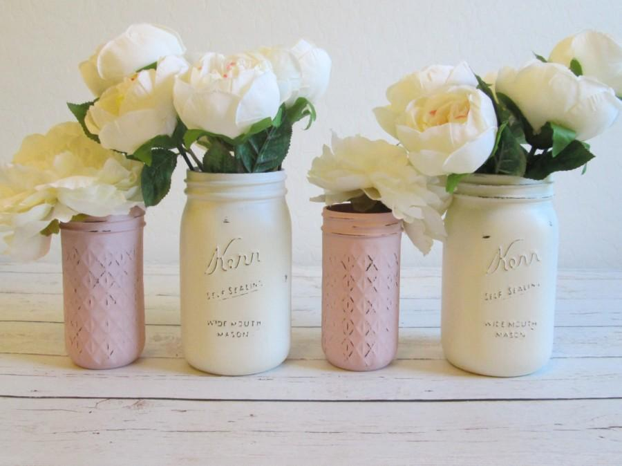 Mason Jar Decor / Pink And Ivory Mason Jars / Baby Shower Decor / Rustic  Wedding Centerpiece / Shabby Chic Mason Jars