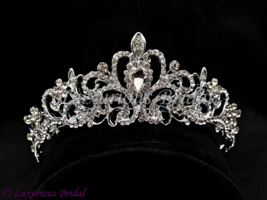 Свадьба - Wedding Crown Wedding Hair Accessories Rhinestone Crown Wedding Tiara Vintage Crown Veil Crown