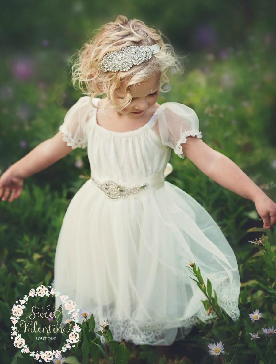 Mariage - Flower Girl Dress, Flower Girl Dresses,Country Rustic Wedding Dress lace flower girl dress, Ivory lace dress,Baby toddler flower girl dress