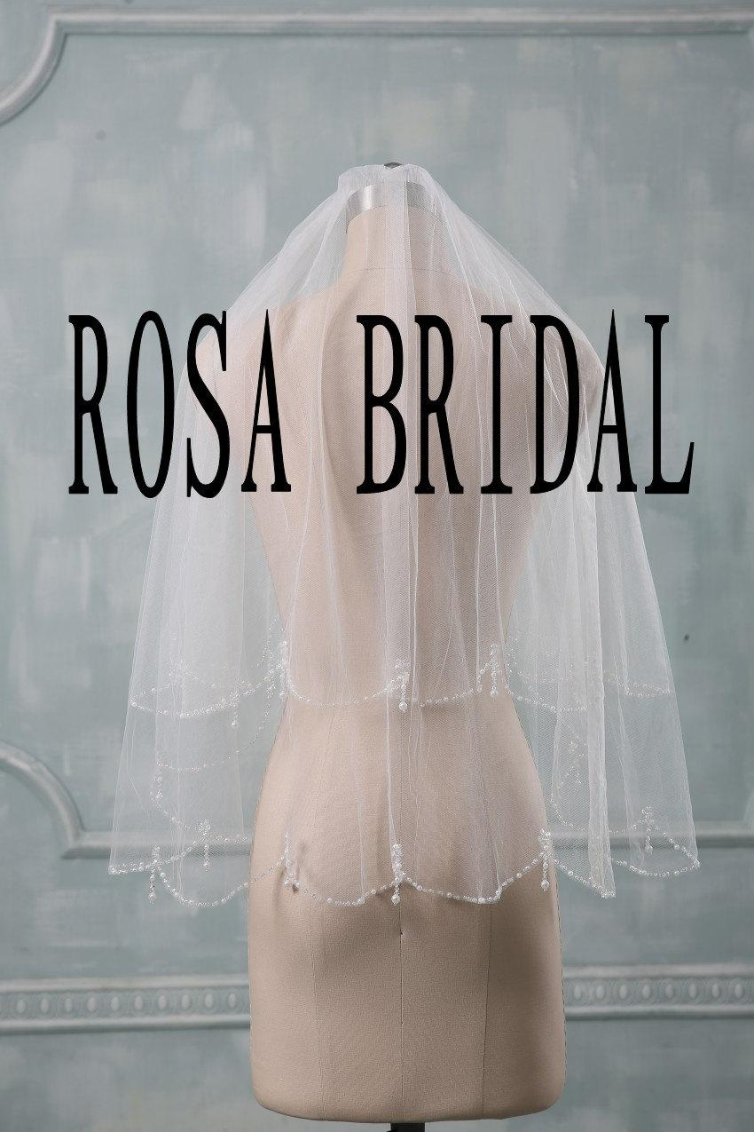 Hochzeit - Bridal Veil New White / Ivory 2T Wedding Veil Comb Handmade White beaded Beads Pearl Bride Veil