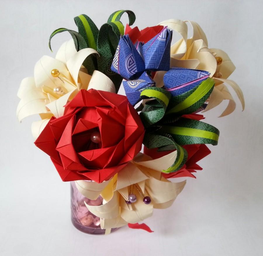 Paper Origami Flowers Wedding Anniversary Bouquet Roses Lilies