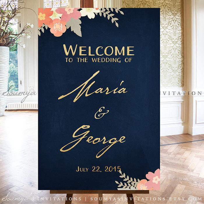 Wedding Welcome Sign Gold And Navy Dark Blue Reception Personalized Printable Party