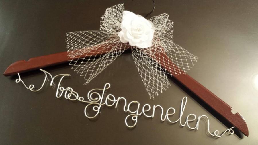 Hochzeit - Bridal Hanger w/ White Flower + Mesh Tulle Veil