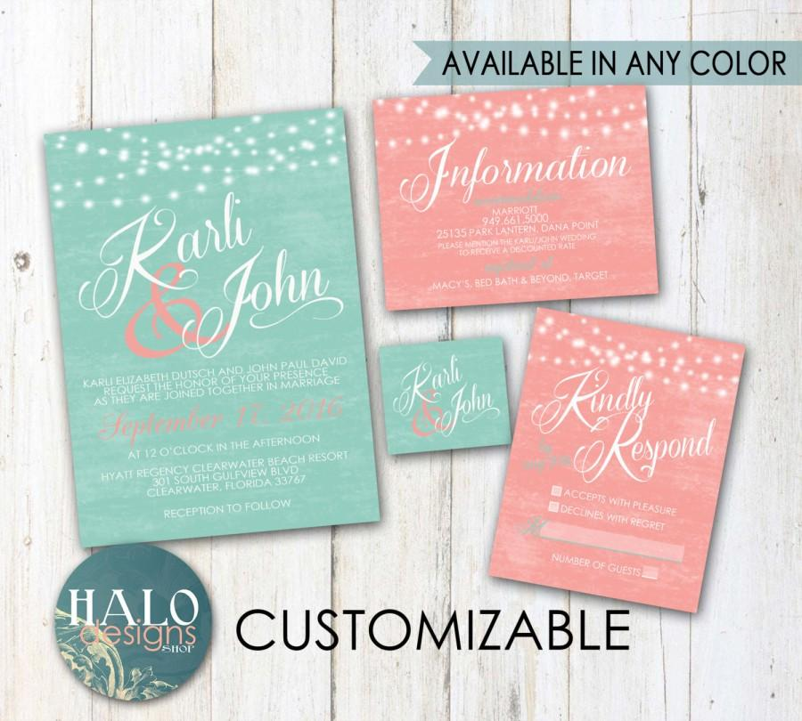 mint coral wedding invitations invitation kit thank you card