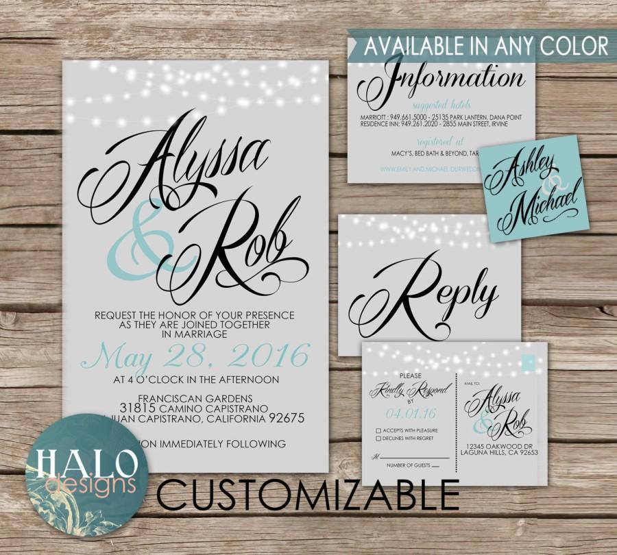 زفاف - Classic Wedding Invitations Grey - Invitation, RSVP postcard, Info card, Printable