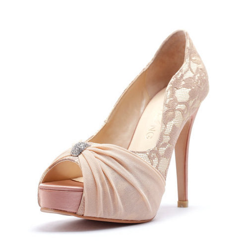 Mariage - My Last Love, Nude Satin Wedding Heels with Rhinestones, Nude Satin Rhinestone Bridal Heels, Wedding Heels with Beaded Rhinestone Adornment