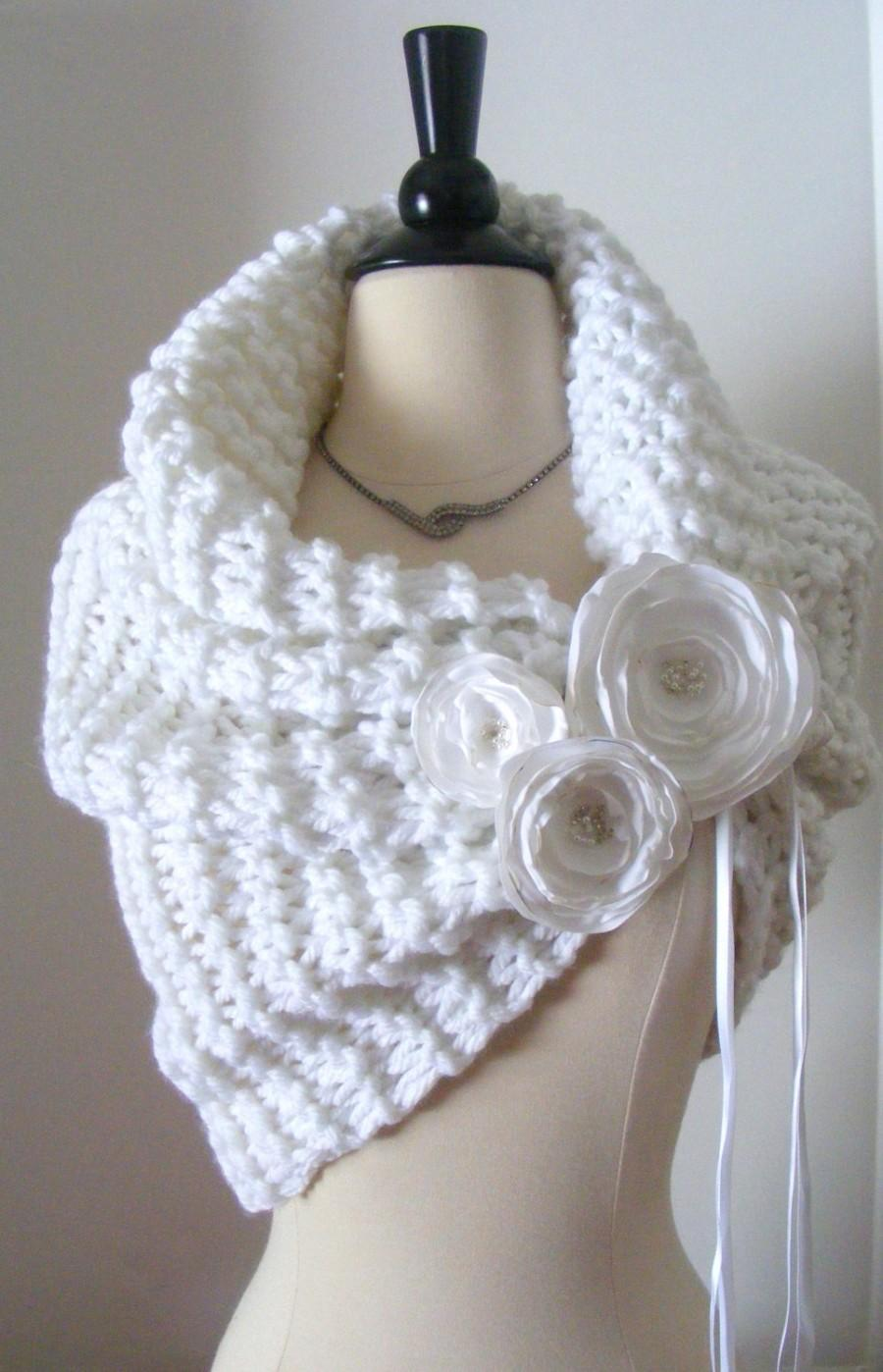 Mariage - White Wedding Shawl/Wedding Shawl/Winter Wedding/Bridal Shrug/White Shawl/Wedding Shrug/White Wedding/Spring Wedding/Wedding Cape/Bolero