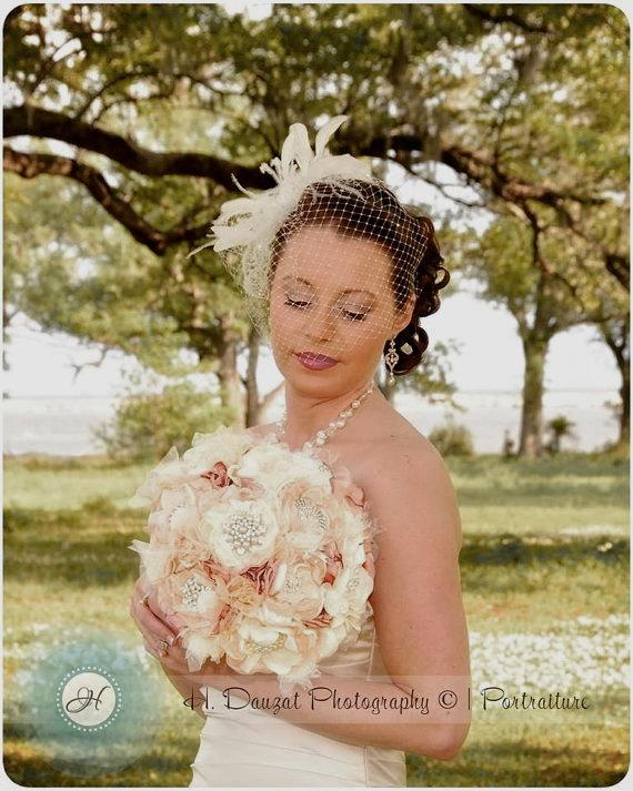Düğün - Wedding Bouquet Vintage Inspired Fabric Flower Brooch Bouquet  Ivory Champagne and Dusty Rose with Pearls Rhinestones and Lace Custom Made