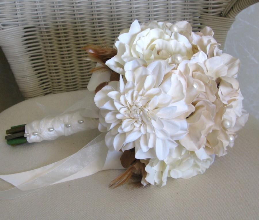 Свадьба - Cream rose wedding bouquet with hydrangeas and dahlias, bridal bouquet
