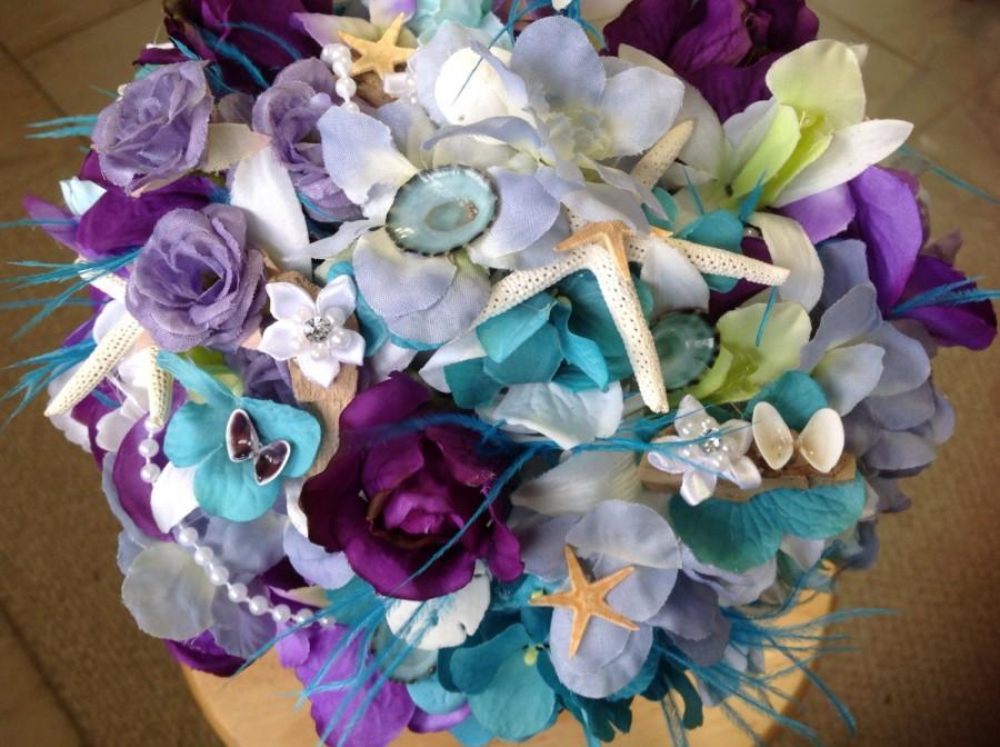 Wedding - Beach Wedding Seashell Lavender and Purple Bridal Bouquet with Roses Hydrangeas Driftwood Orchids Starfish and Diamond trim