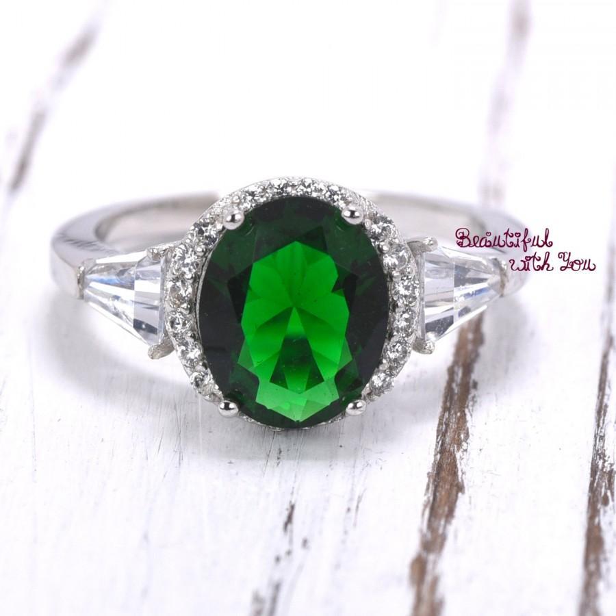 زفاف - Emerald CZ Promise Ring, Womens Rings, Womens Silver Ring, Green Emerald CZ Ring, Womens Promise Ring, Cocktail Ring, Big Stone, Unique Ring