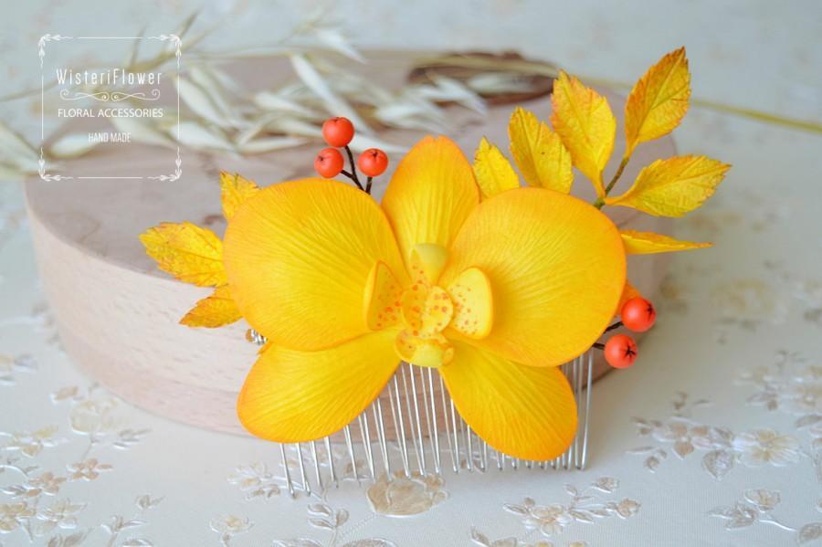 Mariage - Autumn Hair Comb Fall accessories Orchid Boho Wedding Tropical Flower Decorative Autumn Photo props Boho headpiece Wedding rustic comb
