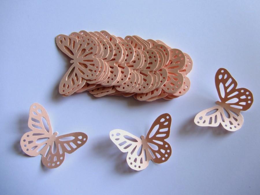 Mariage - Peach paper butterflies die cut butterflies light peach die cuts peach wedding decorations light coral weddings peach monarch butterfly