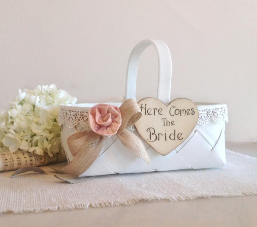 Свадьба - Flower girl basket with here comes the bride sign, ivory lace with burlap ribbon, blush pink flower