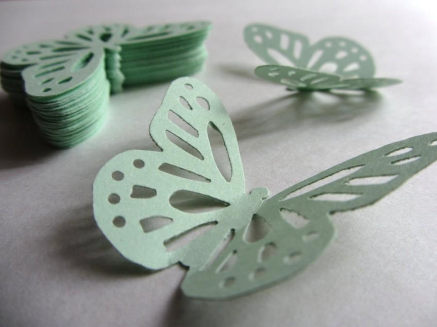 Mariage - Mint green paper butterflies die cut butterflies mint green die cuts mint wedding decorations mint green weddings pale green pastel green