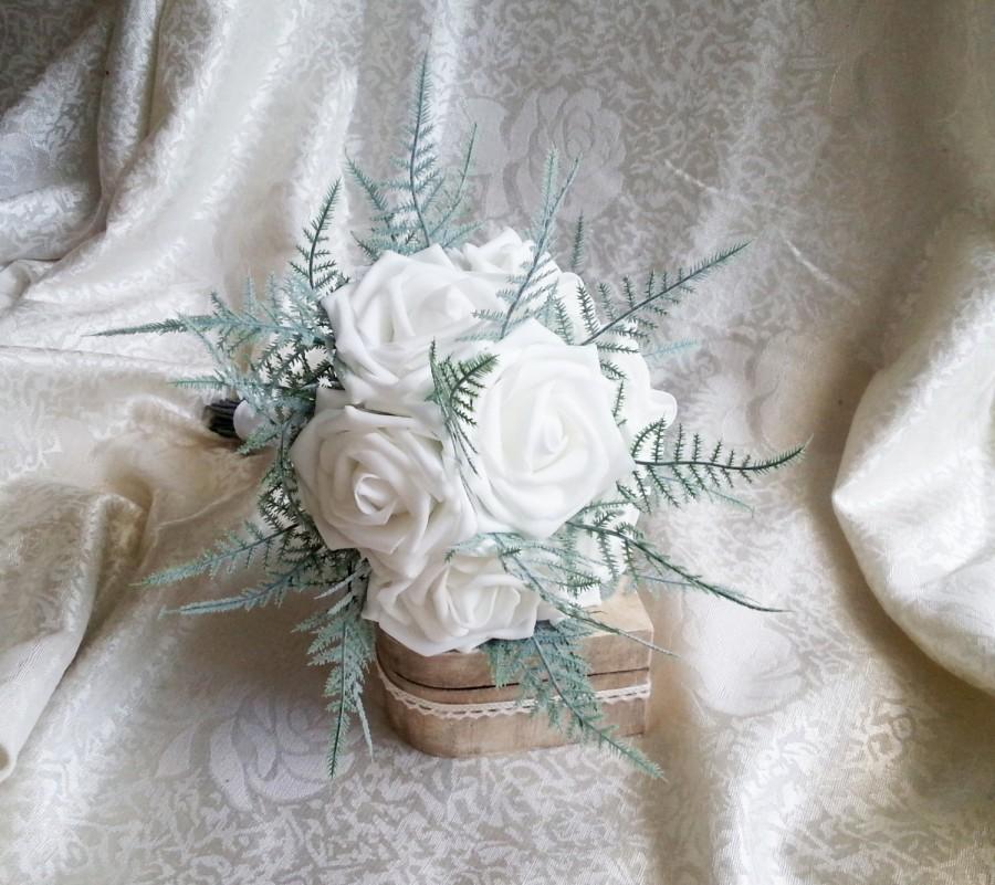 Свадьба - White foam roses ferns flowers wedding SMALL BOUQUET satin Handle, greenery bride, bridesmaids, toss custom