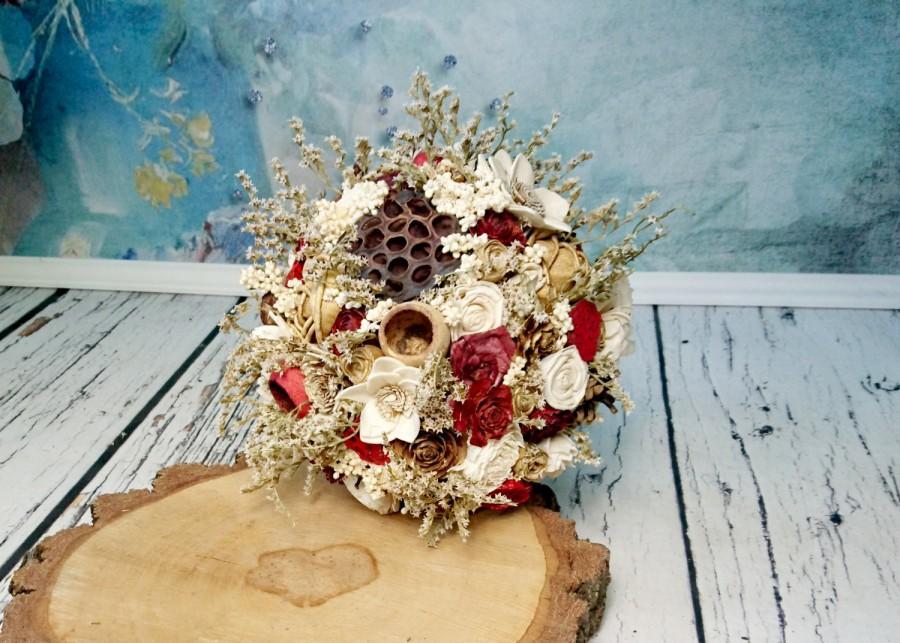 Свадьба - BIG cream ivory burgundy gold brown rustic autumn fall winter woodland wedding BOUQUET sola flowers limonium pine cone cedar rose Burlap