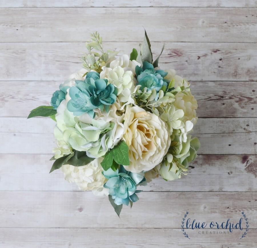 Свадьба - Silk Wedding Bouquet, Silk Bouquet, Silk Flowers, Artificial Flowers, Wedding Flowers, Mint, Teal Bouquet, Ivory, Greenery, Green, Bouquet
