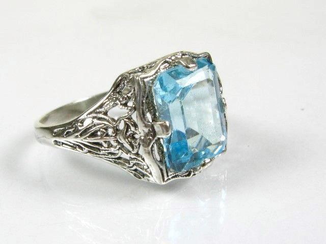 زفاف - Vintage Blue Topaz Ring Filigree Gemstone Emerald Cut Sterling Silver Ring Size 7